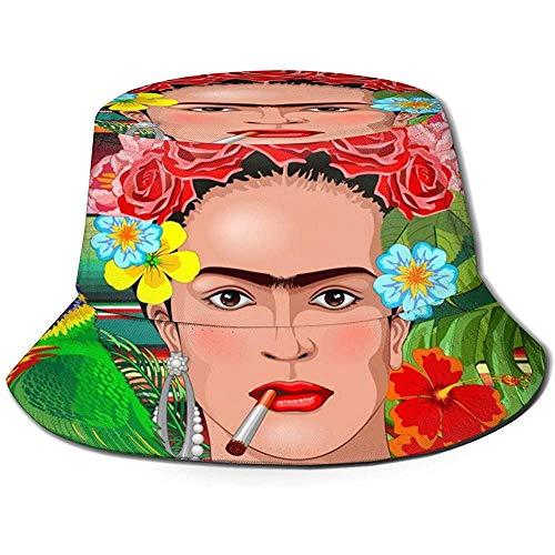 Unisex Eimer Hut Frida Kaklo Blumen Exotische Mexikanerin Sommer Outdoor Fisherman Cap für Herren Damen