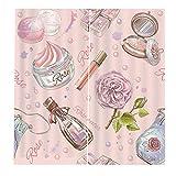 RYQRP 3D Vorhang Blickdicht Rosen-Parfüm 2er Set Gardine Polyester mit Haken für Schlafzimmer Kinderzimmer Wohnzimmer Dekoration, 150 * 166cm