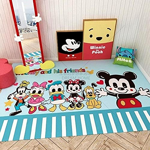Alfombra De Área De Alfombra, Alfombrillas Impresas con Dibujos Animados Bonitos De Mickey Minnie Mouse, Alfombrilla Suave Antideslizante, Alfombras (A2874) 80X150Cm