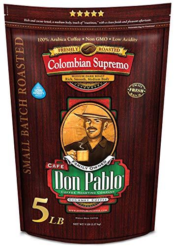 5LB Don Pablo Colombian Supremo - Whole Bean Arabica Coffee - Medium-Dark Roast - Low Acidity - 5 Pound (5 lb) Bag