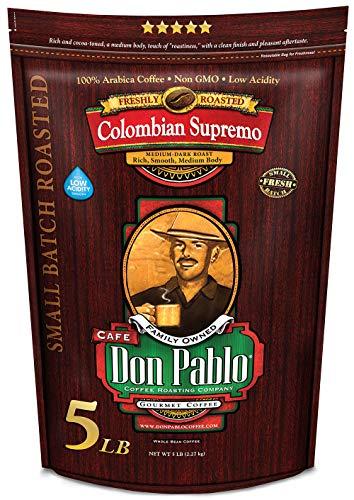 5LB Cafe Don Pablo Gourmet Coffee Colombian Supremo - Medium-Dark Roast Coffee - Whole Bean Coffee - 5 Pound (5 lb) Bag