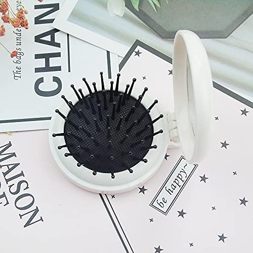 Pettine Denti Larghi 2 confezione di pettine con airbag pieghevole con specchio e lente per il trucco portatile Pettine Legno (Color : White)