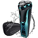 Electric Razor for Men, Mens Rotary Electric Shaver with LCD Display, USB Chargeable Cordless Floating Razor with Pop-up Beard Trimmer, Painless Waterproof Wet Dry Shaver for Face Hair Beard Style