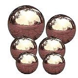 Kacniohen Bola de Mirada Jardín Espejo Pulido Esfera de la Bola Bola Hueca de Acero Inoxidable de Bolas Decorativas para jardín 6PCS