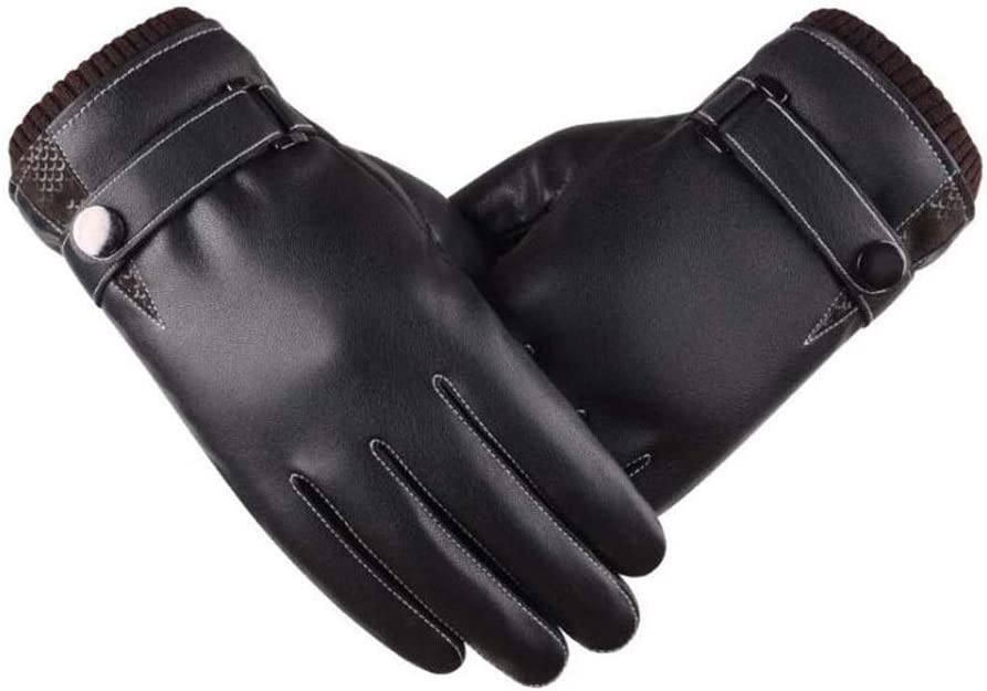 DALIBAI Men's Real Leather Driving Gloves, Luxury Leather Gloves,Thin Fleece & Thermal Lined Leather Winter Gloves Warm Mittens
