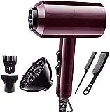 Sooiy Secador de Pelo Profesional Rojo,2000 W,2 velocidades y 3 de Calor, AC secador de Pelo Motor, Pro Calidad del salón, secador de Pelo de Secado rápido, Difusor y Peine Secadores de Pelo,Rojo
