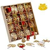 KATELUO Decora del Arbol De Navidad,Conjunto de Estrellas de Paja Navidad,Paja Colgantes de para Navidad, para Colgantes y Adornos navideños Elegantes, Adornos para árboles de Bricolaje. (56pcs)