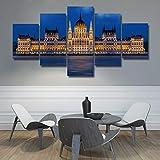 5 Piece Canvas Cartel De La Impresión De La Escena Nocturna Del Castillo Europeo Del Arte Mural De La Foto De La Sala De Estar Moderna Sin Marco