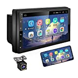 UNITOPSCI 7 Inch Android Car Stereo Double Din GPS Navigation Stereo Car Radio with WiFi Bluetooth HD Touch Screen 12 LEDs Backup Camera, FM Radio Receiver,Support Dual USB SWC Mirror Link MP5 Player