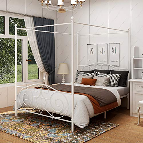 DUMEE Queen Size Metal Canopy Bed Frame with Simple Modern Style Headboard & Footboard Sturdy Iron Steel Easy DIY Assembly White