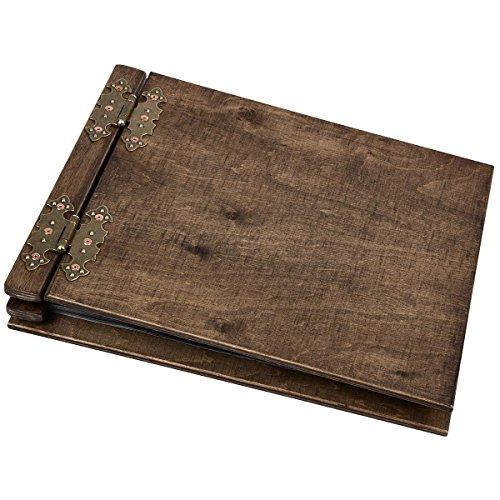 Aldecor Dickes Fotoalbum aus Holz mit 50 schwarzen 300 g Innenseiten Fotoalben mit Mittelsteg