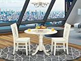 DLNO3-WHI-W 3 PC Dublin kitchen table set-Dining table and 2 wood seat kitchen chairs