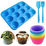 Geeke Set di 12 teglie riutilizzabili in Silicone per Muffin e Cupcake, con 12 Muffin, 1 s...