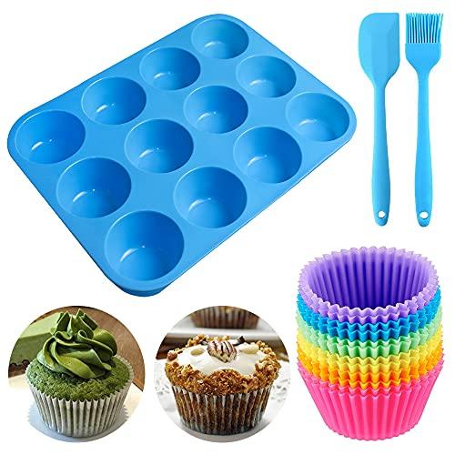 Geeke Set di 12 teglie riutilizzabili in Silicone per Muffin e Cupcake, con 12 Muffin, 1...