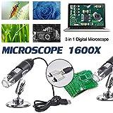 Microscopio digital 3 en 1 megapíxeles 500X1000X1600X 8 LED digital USB Microscopio Lupa Electrónica Estéreo USB Endoscopio Cámara Soporte Windows Android Teléfonos