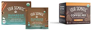 Four Sigmatic Chai Latte, Organic Instant Chai Latte with Turkey Tail, 10 Count & Four Sigmatic Mushroom Instant Coffee, O...