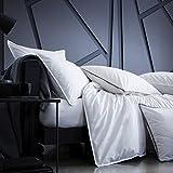 Blanc Cerise - Parure da letto in percalle di cotone Premium, copripiumino e federe, 200 x 200 cm, colore: Bianco