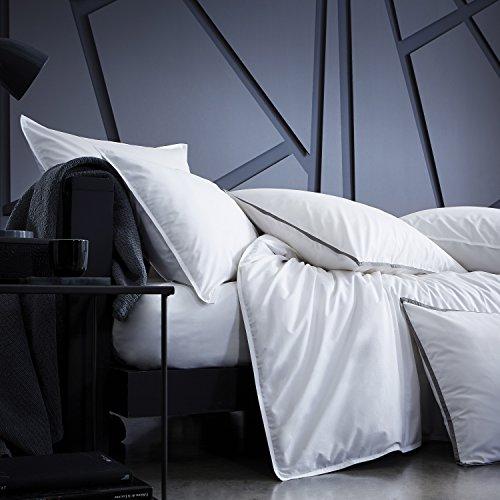 BLANC CERISE Parure de lit en Percale de Coton Premium - Housse de Couette + Taies d'oreiller Blanc 200x200 cm