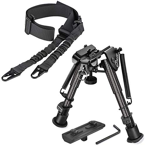 CVLIFE 6-9 Inches Carbon Fiber Bipod with Mount | Two Points Sling with Length Adjuster Traditional Sling with Metal Hook for Outdoors Black