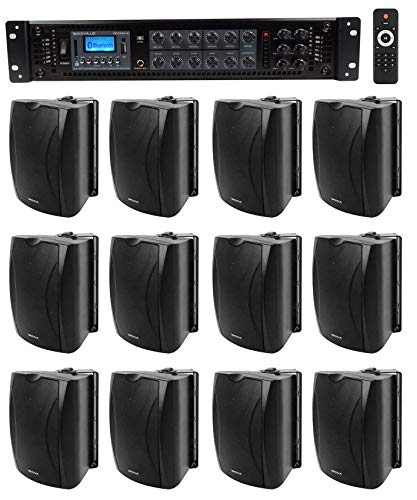 "(12) 6.5"" Black Commercial 70v Wall Speakers+Amp for Restaurant/Office/Cafe/Bar"