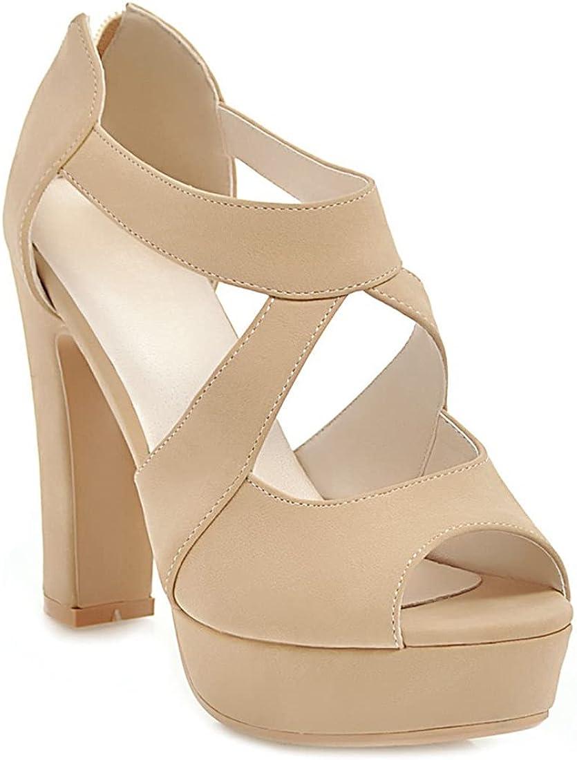 MISTU Women's Peep Toe Platform Block High Heel Sandals Cross Strappy Back Zipper Pump Dressy Heeled Sandal