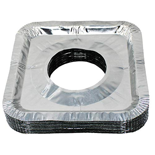 Gas Stove Burner Covers, Aluminum Foil Disposable Bib Liners Set, 24 Pack (For Gas Range Square)