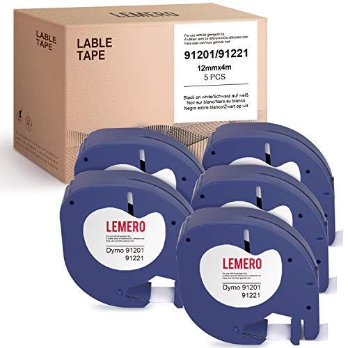 Lemero - 5 nastri per etichette compatibili con Dymo Letratag in plastica 91221 91201 S0721660 S0721610 LetraTag per LT-100H LT-100T, nero su bianco, 12 mm x 4 m
