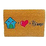 koko doormats felpudos Entrada casa Originales, Fibra de Coco y PVC, Felpudo Exterior House + Love = Home, 40x60x1.5 cm   Alfombra Puerta Entrada casa Exterior   Felpudos Divertidos para Puerta