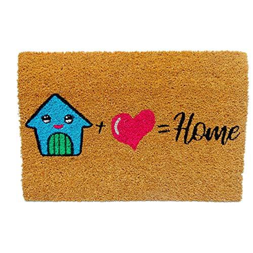koko doormats Kook Time Felpudo para Entrada de Casa Original, Modelo =Home, Fibra de Coco y PVC, 40x60cm