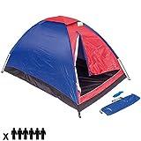 Enrico Coveri Tenda Da Campeggio Per 6 Persone Tenda Camping Spiaggia Cupola 6 Posti Familiare Tenda Outdoor in Nylon Antivento Zanzariera Colore Rosso Blu