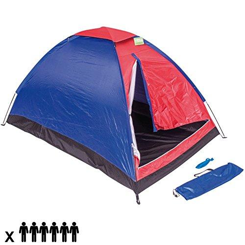 Tenda Da Campeggio Per 6 Persone Tenda Camping Spiaggia Cupola 6 Posti Familiare Tenda Outdoor in Nylon Antivento Zanzariera Colore Rosso Blu ENRICO COVERI