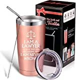 Lawyer Wine Tumbler I am a Lawyer Wine Mug 20 oz Double Wall Insulated Mug Tumbler for Law School Graduation Attorney, with Lid Straw