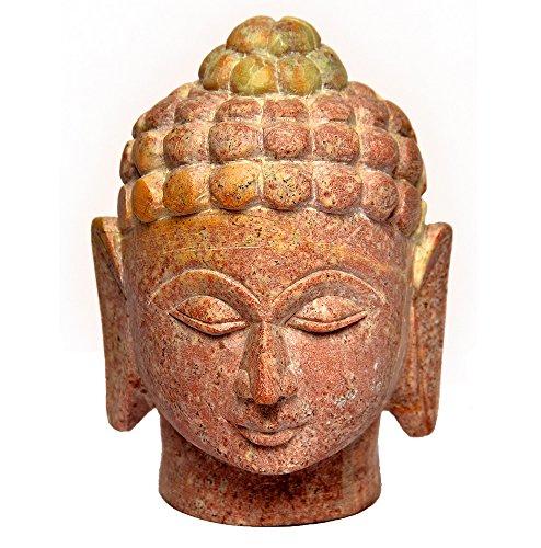 Artist Haat Fatto a mano in pietra ollare Buddha Signore testa Scultura Buddismo Dio con intagli (Beige, 6 * 6 * 7 cm circa).