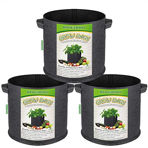 IVYGROW 3-Pack 5 Gallon, Heavy Duty Nonwoven Potato/Plant Grow Bags...
