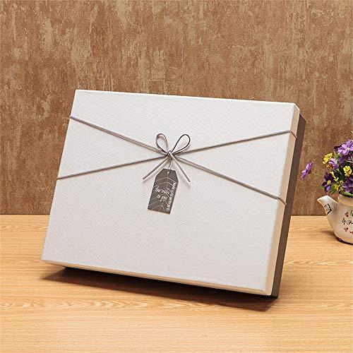 YIKEY-Geschenkbox Kreative weiße rechteckige Geschenkbox, graue Schleife, Valentinstag-Lippenstift, Hemd, Schal und kleine Aufkleber-Geschenkbox, mit Geschenktüte