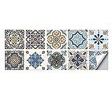 YQY Pegatinas de Azulejos de Mosaico Retro Estilo Tradicional de la vejez extraíble baño Cocina Pegatinas Azulejos de Pared Pegatinas de Piel (Color : I, Talla : L20*20 (a Set of 10 Pieces))