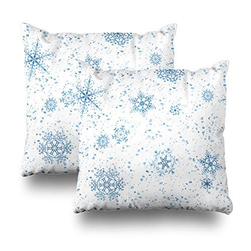 GFGKKGJFD Juego de 2 fundas de cojín para sofá, diseño de copos de nieve, color azul, 18 x 18 cm, color blanco