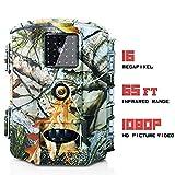 Olymbros Wildkamera Fotofalle 1080P 16MP Jagdkamera Weitwinkel Vision Infrarote 20m Bewegungsaktivierung Nachtsicht Wasserdichte IP65 Überwachungskamera