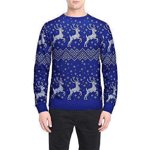 MIRRAY Herren Weihnachten Pullover Weihnachtsmann Elch Schneeflocke Geschenk Druck Herbst Winter Top Langarm T-Shirt Bluse