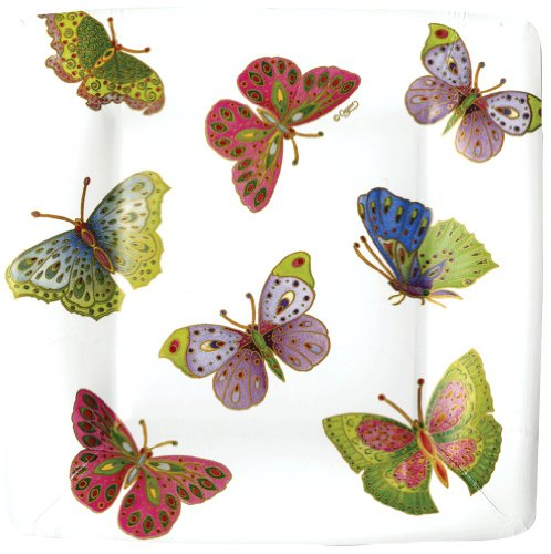 Caspari Lot de 8 Assiettes à Salade/Dessert en Carton Motif Papillons