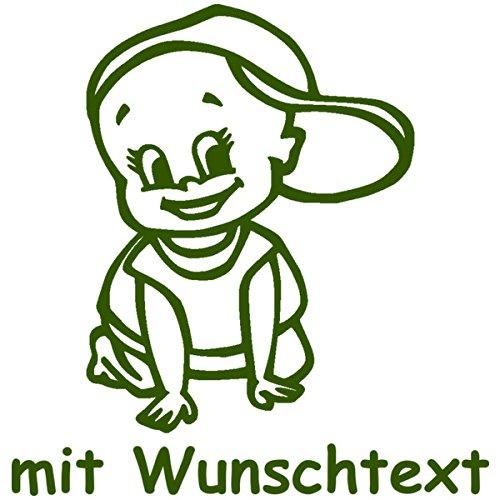 Babyaufkleber mit Name/Wunschtext - Motiv 148 (16 cm) - 20 Farben und 11 Schriftarten wählbar