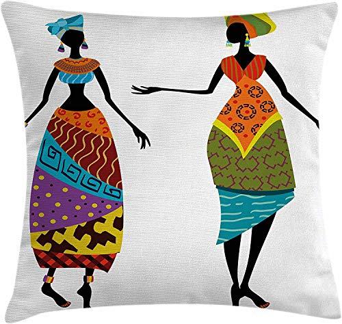 BONRI Funda de cojín de Almohada Africana, Damas en Traje Tradicional, Siluetas étnicas, exhibición Vintage, Funda de Almohada Decorativa con Acento Cuadrado, Negro Naranja , (16'x16 / 40x40cm