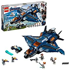 Build the Avengers Ultimate Quinjet model, with an opening minifigure cockpit, passenger compartment, 2 stud shooters, fold-out 6-stud rapid shooter and a stud-shooting trike, then launch into battle! This superhero playset includes 6 minifigures: Bl...