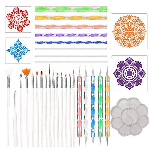 Kit de Pintura de puntos Mandala,Liwein 33 piezas Mandala Dotting Stencils Tools para Lienzo Pintura en Roca Arte de Pared Niños Pintando con Plantilla Varillas Acrílicas Pincel de Pintura Paleta