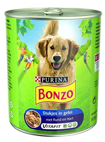 800 GR Bonzo blik stukjes in gelei rund/hart hondenvoer