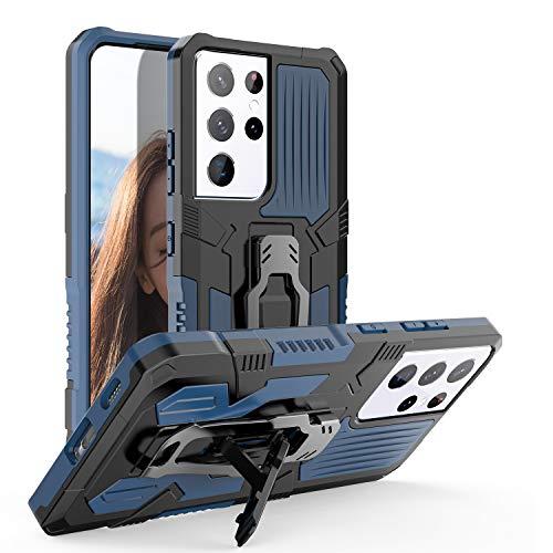 Funda para Galaxy S21 Ultra, protección contra caídas grado militar doble [función soporte] [función magnético para coche] [clip para cinturón] funda a prueba golpes para Galaxy S21 Ultra 6.8', azul