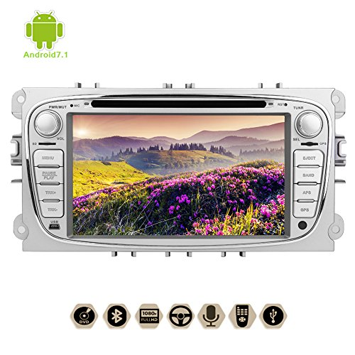 7 inch Android 7.1 Nougat Octa-Core 2G RAM Capacitive Touch Screen Car Stereo DVD CD Player HD 1080P Video in Dash GPS Navigation WiFi 3G/4G Internet Ford S-max 2008-2012 Focus 2008-2010 Galaxy 2