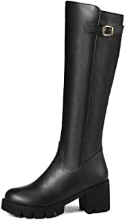 BalaMasa Womens ABS13935 High-Top Mule No-Closure Black Pu Boots - 4.5 UK (Lable:38)