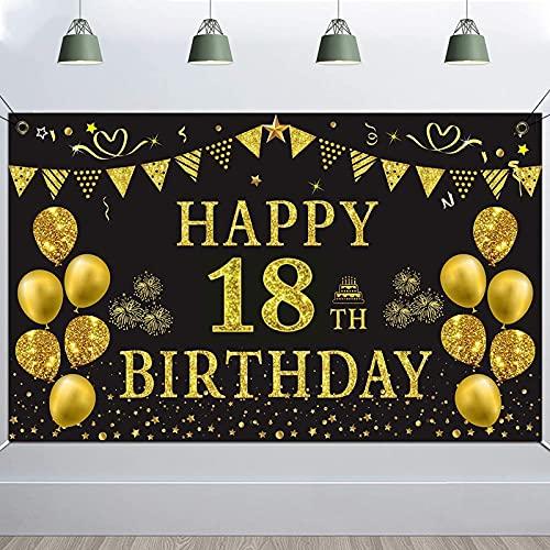Fondo de Fiesta de Cumpleaños, TUOCO 18 Cumpleaños Decoración de Fiesta de Cumpleaños de Oro Negro, Pancarta Feliz Cumpleaños, Póster de Tela Cartel Extra Grande, 18 Años Cumpleaños Decoración