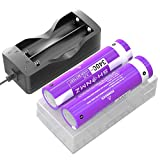 SHENMZ 2 Pack Battery for 3.7V 3400mAh Flat Top Battery, Rechargeable, 2 Bay USB Battery Charger for Flashlight, Camera, Small Fan, Sound Equipment.